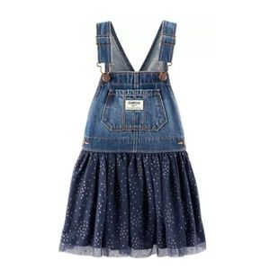 OshKosh B'Gosh Navy Polka Dot Tulle Overall Dress